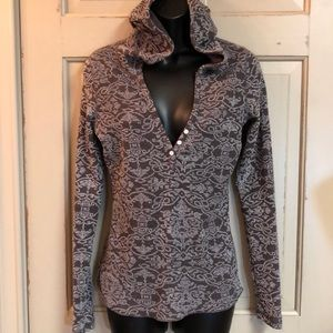 Lucy Thermal Button V Neck Hoodie